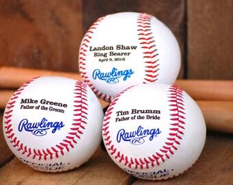 Ring Bearer Gift Idea, 4 Personalized Baseballs, Custom Engraved Groomsmen Gift Best Man Gift Wedding Keepsake Gifts for Men, Groomsman Gift