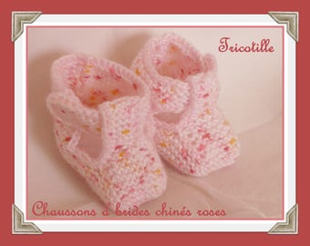 Heather pink barrettes slippers