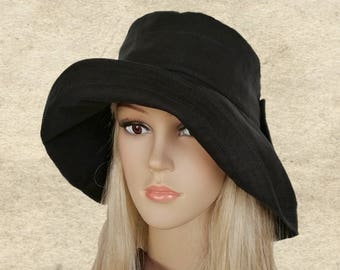 Black cotton sun hat, Wide brim hats, Cotton floppy hats, Black travel hats,Black fabric hats,  Womens summer hats, Boho black hat,