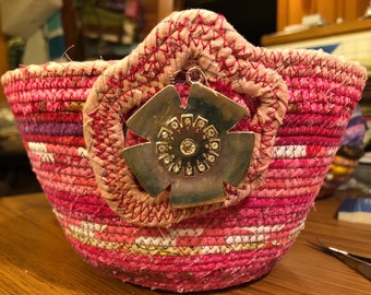 Pink Flower Batiks and Print Fabric Wrapped Coiled Clothesline Basket