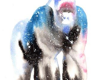 Gorilla ORIGINAL Watercolor 9X12, Galaxy Spirit Animal