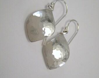 Sterling Silver Hammered Petal Earrings - Simple Silver Earrings - Silver Dangle Earrings - Botanical Jewelry - Metalsmith Jewelry - Modern