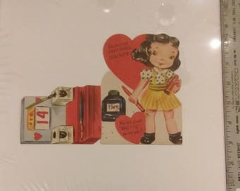 Unused 1950's Teacher's Pop Up Valentine's Day Card New Old Stock