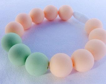 Silicone beaded bracelet mama teether pastel