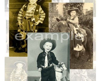 Little Cowboys And Cowgirls...Vintage Images...Digital Collage Sheet