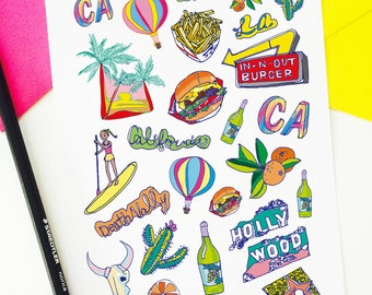 Trip to California stickers, CA stickers, Planner Stickers, Scrapbooking, Filofax, TN Stickers, Planning decoration