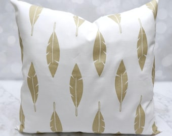 18 inch pillow cover gold feather - envelope pillow cover