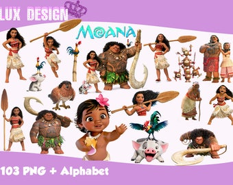 103 Moana ClipArt + Alphabet - PNG Images 300dpi Digital, Clip Art, Instant Download, Graphics transparent background Scrapbook