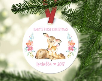 Christening Gift Girl Ornament Babys First Christmas Ornament Personalized Babys First Christmas Ornament Girl Baby Christmas Ornament Deer