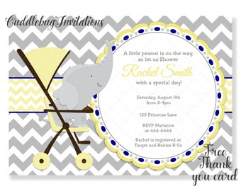 Blue Elephant Boy Baby Shower Invitation Baby Boy Shower
