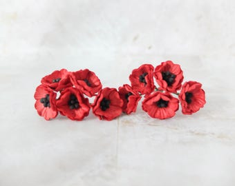 10 2 cm red paper poppies - 20mm red paper flowers - red mulberry paper flowers - anemone
