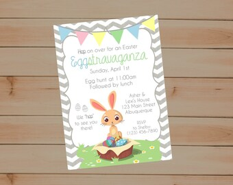 Easter Eggstravaganza Invitation, Easter Egg Hunt, Easter Invite, Easter Invitation, Egg Hunt, Easter Party Invitation, Hop on Over