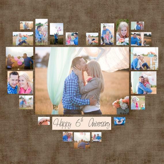 Collage de foto plantilla PSD de corazón. Regalo de boda.