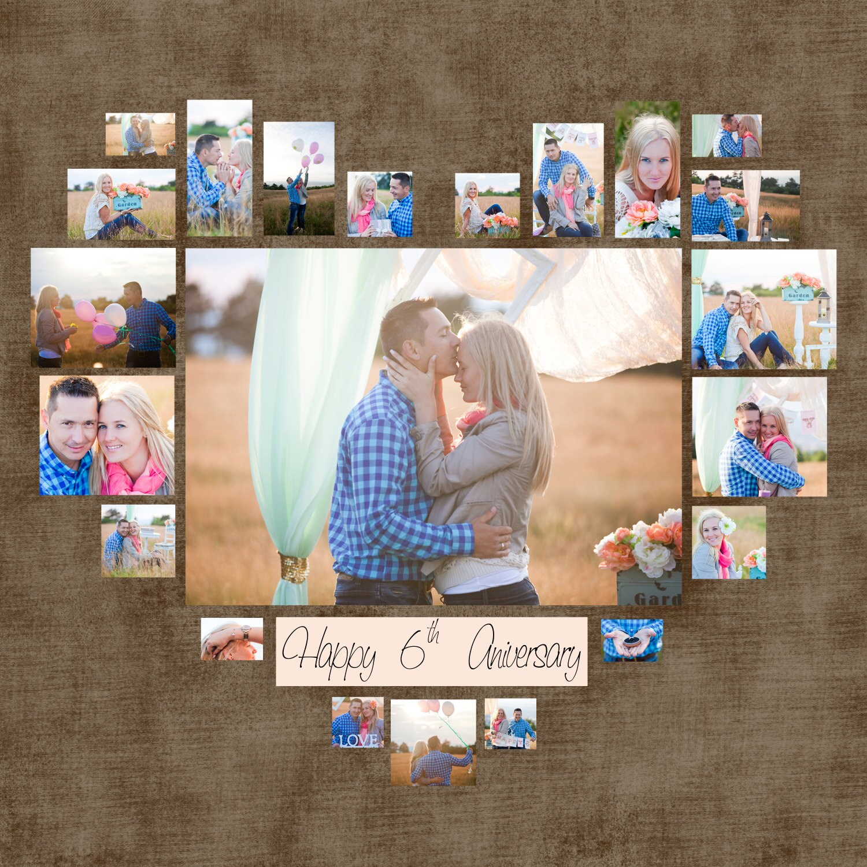 Heart photo collage template psd wedding gift anniversary zoom maxwellsz