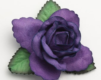 Mulberry Paper Open Roses - Purple  - 12 Roses x 50mm - Favour Decoration Card Craft, Scrapbooking Embellishments