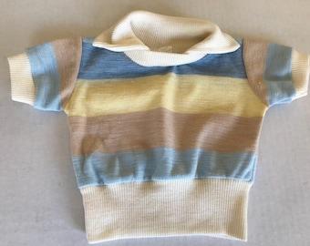 Vintage striped pastel, baby blue, yellow, tan, collared 80s kids, vintage toddler