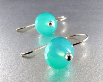 15% Off Turquoise Blue Chalcedony and Sterling Silver Dangle Earring