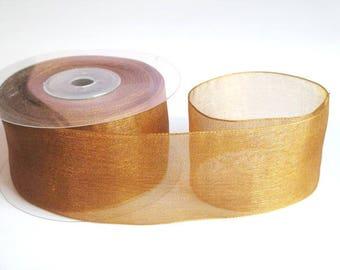 1 m 40mm Brown organza Ribbon
