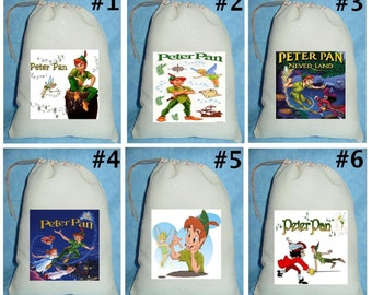 12 Peter Pan Tinkerbell  Birthday Party Favor Candy Loot Treat Drawstring Bags