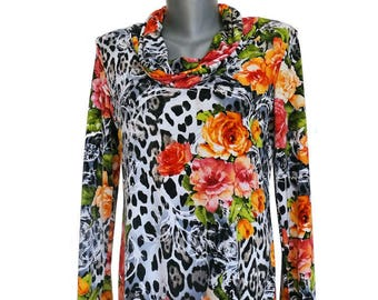 Elegant shirt, size 36-38, handmade Leoprint and roses, unique blouse