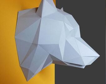 Wolf, dog, papercraft, home decoration, paper animals,dog kit, polygonal decoration Photos