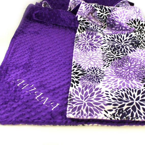 Personalized Baby Blanket, Floral Minky Baby Blanket, Gray Purple Baby Girl, Baby shower gift, Flower Blanket, Receiving Blanket, Baby Gift
