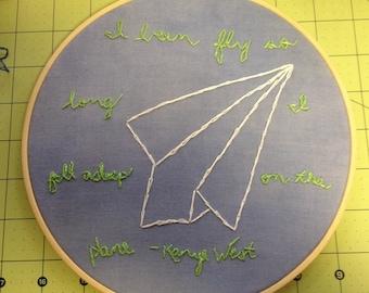 Kanye West embroidered tweet hoop art made to order