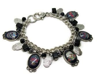 Sugar Skull Charm Bracelet - Skull Bracelet - Sugar Skull Jewellery - Altered Art - Mexican - Day Of The Dead - Skull Jewelry