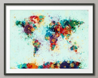 Paint Splashes Map of the World Map, Art Print (1711)