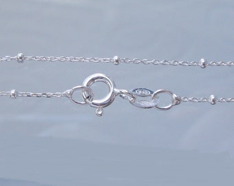 """18"""", 925 Sterling Silver Satellite Finished chain, 1.1mm Cable, 1.8mm Rondelle bead - AI"""
