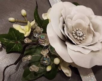 Light grey & white corsage bracelet