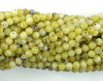 Yellow Turquoise Beads, 4mm (4.5mm) Round Beads, 15 Inch, Full Strand, Approx 88 beads, Hole 0.8mm (444054001)