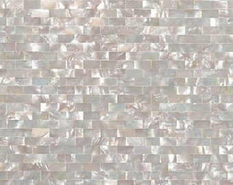 White Butterfly Shell Mosaic Brick Subway Groutless Mother of pearl kitchen backsplash wall tile MOP033 pearl shell mosaic tiles bathroom