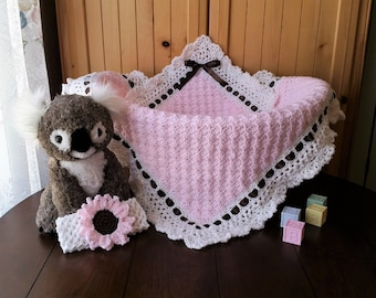 Crochet Baby Blanket, Baby Girl Blanket and Headband Set, Baby Shower Gift