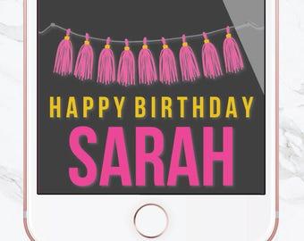 Birthday Snapchat Filter, Birthday Filter, Geofilter, Gold Balloons, Customized Birthday, Snapchat Geofilter, Sweet 16, Tassel, Pink, Gold