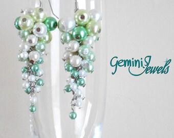 Light Green Beads Cluster Earrings