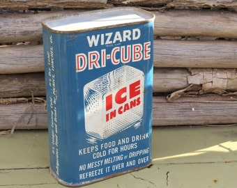 Vintage Wizard Tin, DRI-CUBE Ice in Cans, Country Store Decor, Garage Decor, Industrial, Vintage Collectible Tin