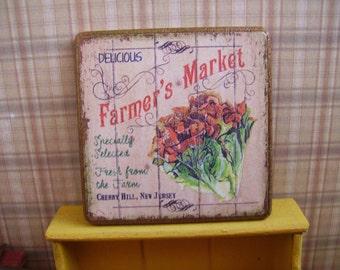 Farmer's Market Miniature Wooden Plaque 1:12 scale for Dollhouses