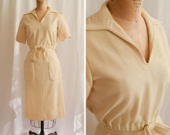 1960s Two Piece Set | Shannon Rodgers for Jerry Silverman | Vintage 60s Ivory Wool Jersey Elastic Waist Top High Waist Skirt Pockets Size XS