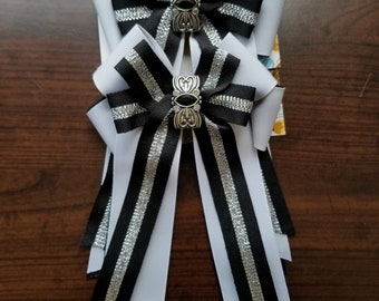 Black, White, & Silver Striped Elegance Equestrian Show Bows (Grand Champion Size)
