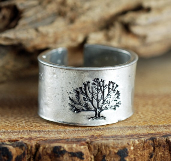 Family Tree Ring, Secret Message Ring, Silver Tree Ring, Hand Stamped Ring, Tree of Life Ring, Custom Cuff Ring, Personalized Ring