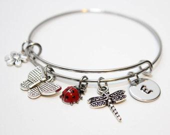 ladybug bracelet, personalized ladybug bracelet, ladybug jewelry, ladybug charm bracelet, little girl ladybug bracelet, ladybug bangle