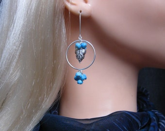 Turquoise Cluster Earrings- Silver Hoops, Double Cluster