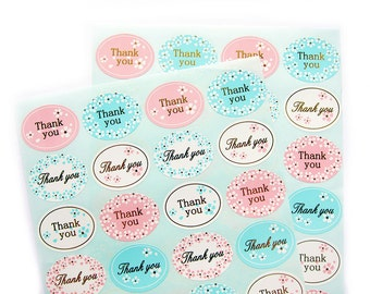 Thank You - Stickers / Labels / Embellishment for Product or Gift Packaging - 48 stickers