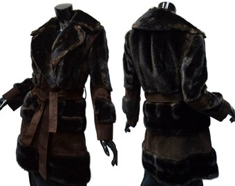 MOD Lilli Ann London Coat Brown Faux Fur Suede Sz 8 M Vintage 60s Chocolate Sash Made in England Excellent 1960s Carnaby
