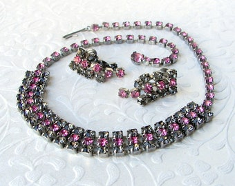 Matching Necklace Earring Parure Set Pink Gray Rhinestone Necklace Choker Screw Earrings Vintage Rhinestone Costume Jewelry Prom Cocktail
