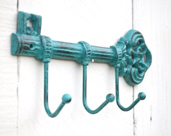 Skeleton Key Wall Hook Teal / Aqua / Turquoise Black Key Holder / Leash Holder / Key Hook Organizer / Jewelry Holder / Housewarming Gift /