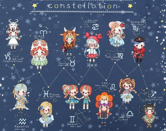 Constellation characters fabric, Adorable Zodiac signs