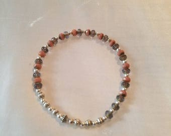Coral, grey and silver  stretch bracelet