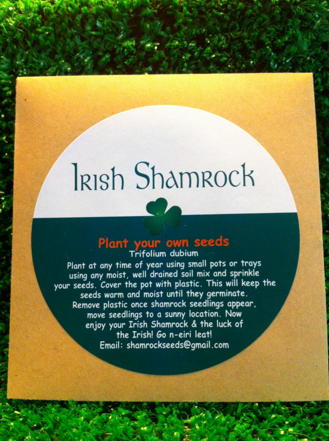 Irish shamrock seed packet grow your own lucky clover with zoom biocorpaavc Gallery